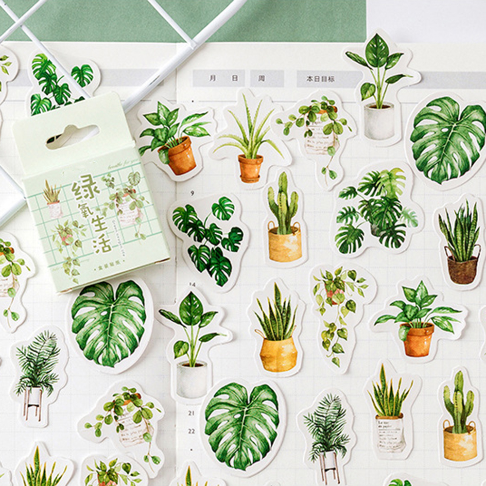 45 Pcs/pack Green Oxygen Life Decorative Stationery Stickers Scrapbooking DIY Diary Album Stick Label School Office Supply