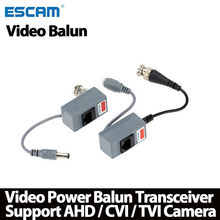 Escam 10 Stuks Cctv Camera Accessoires Audio Video Balun Transceiver Bnc Utp RJ45 Video Balun Met Audio Power Over CAT5/5E/6 Kabel(China)