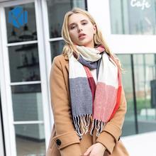 190*50cm Autumn Winter Female Wool Plaid Scarf Women Cashmere Scarves Wide Lattice Long Shawl Wrap Blanket Warm Tippet Drop Ship