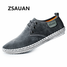 ZSAUAN Dropshipping 38-48 Large Size Men Casual Loafers Lace-up Flats Soft Handmade Sneakers Suede Leather Moccasin