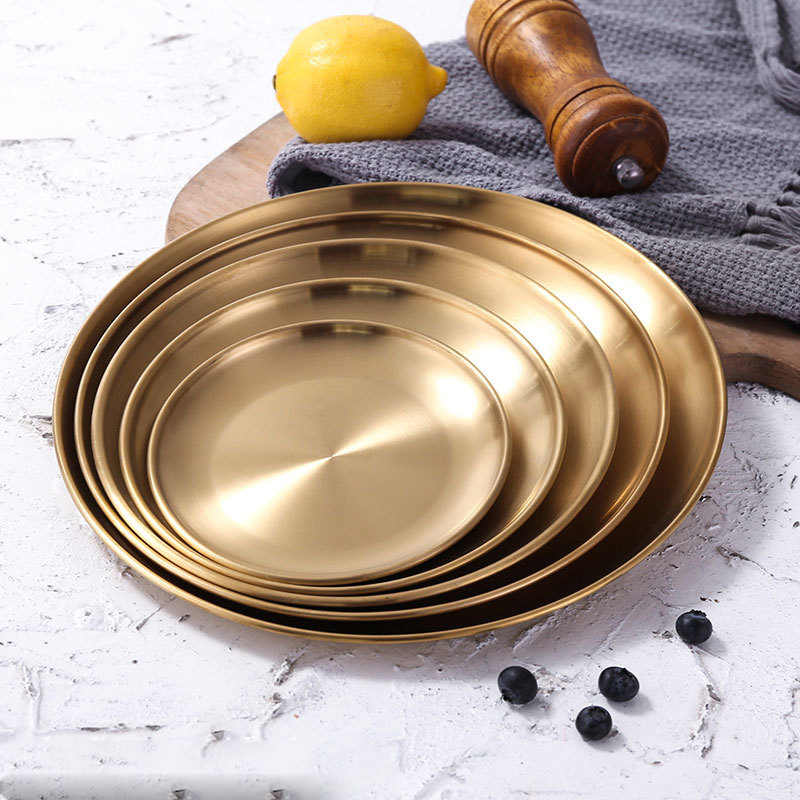 European Style Dinner Plates Gold Plate Kitchen Serving Dishes Round Plate Cake Tray Western Steak Round Tray