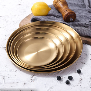 European Style Dinner Plates Gold Dining Plate Serving Dishes Round Plate Cake Tray Western Steak Round Tray Kitchen Plates(China)