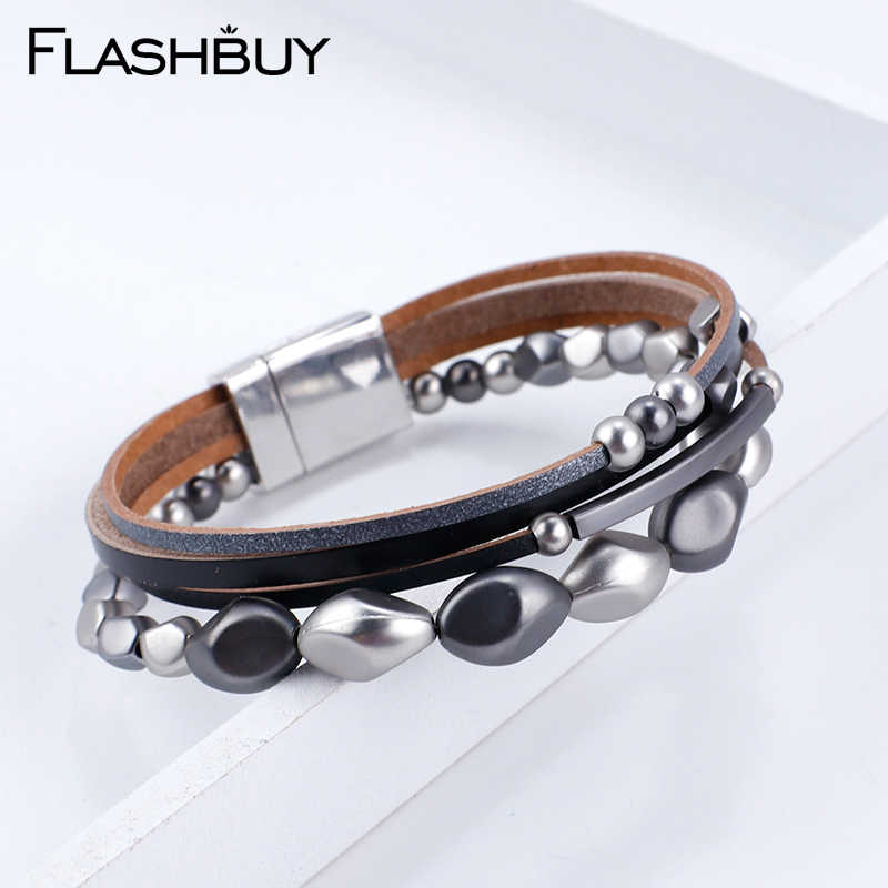 Flashbuy Multilayer Beads Bracelet For Women Fashion Jewelry Leather Metal Charm Bangles Black Wrap Bracelets Gift Accessories
