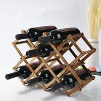 Wooden Diamond Shaped Wine Display Stand Foldable Bottle Holder Organizer Shelf Wine Rack