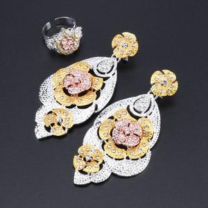 Image 5 - Mode Dubai Gold Verzilverd Bridal Sieraden Sets Voor Vrouwen Afrikaanse Bloem Crystal Ketting Oorbellen Armband Ring