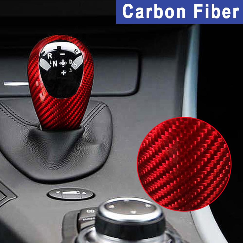 Gear Shifter Shift Knob Cover Carbon Fiber Style Frame Trim Fit for BMW M3 M5 M6
