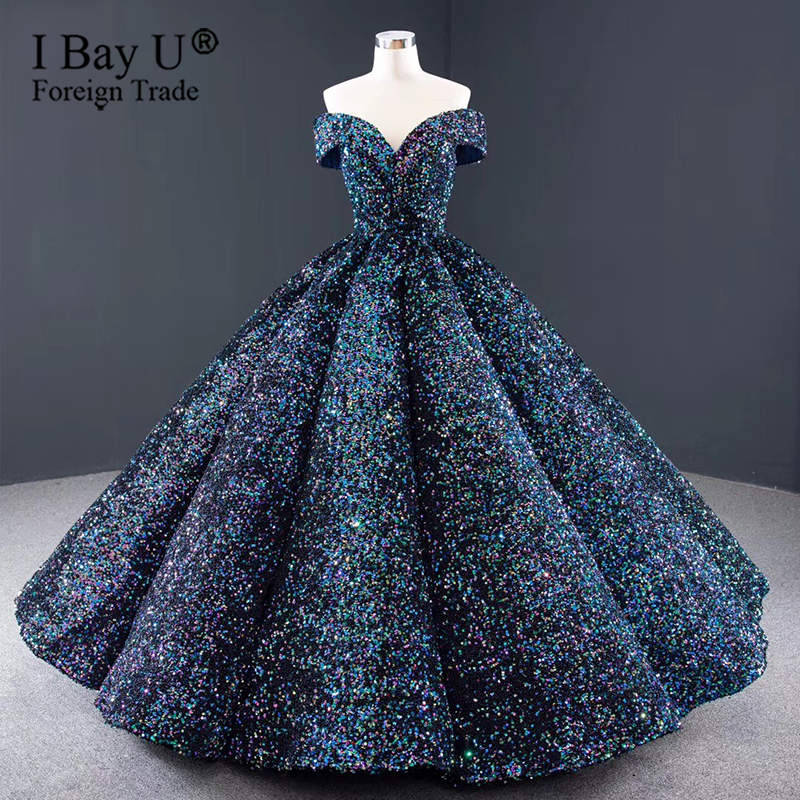 Colorful Indigo Sequin Lace Pretty Princess Wedding Dress 2020 Sexy Off Shoulder Adjustable Lace Up Back Vintage Bridal Gowns
