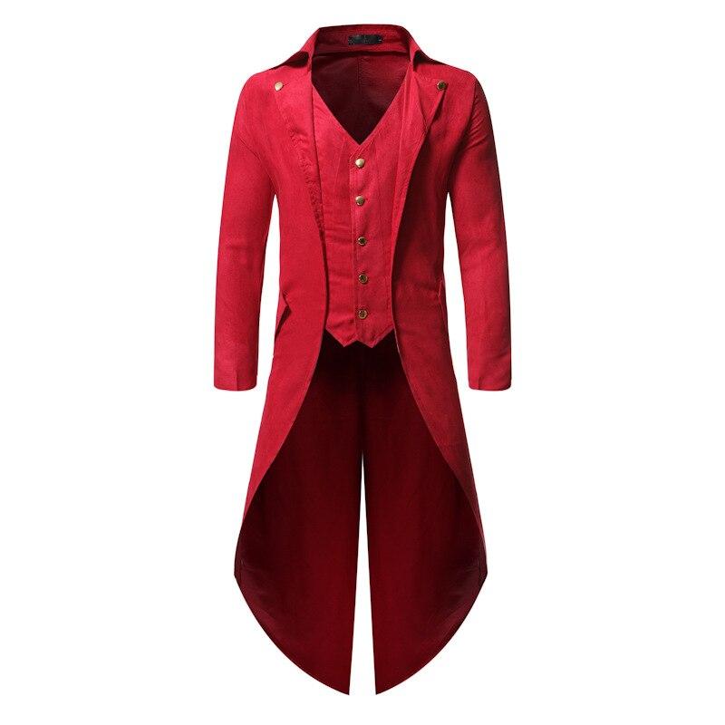 Vintage Gothic Steampunk Dress Vest Men 2019 Brand Red Slim Fit Sleeveless Vest Waistcoat Men Halloween Cosplay Costume Homme