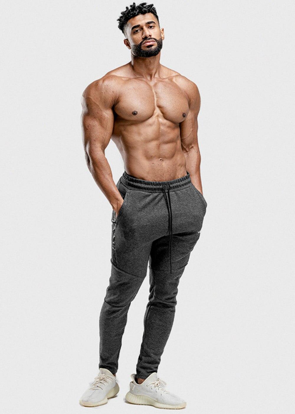 algodão magro ginásio fitness workout calças masculinas