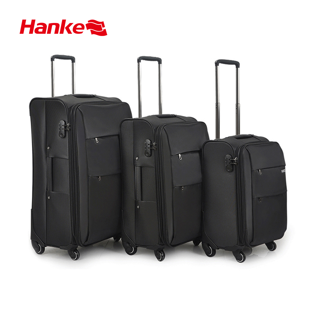 Hanke Softside Check In Luggage Business Travel Suitcase Carry On Expandable Design Black Fabric Luggage H8059