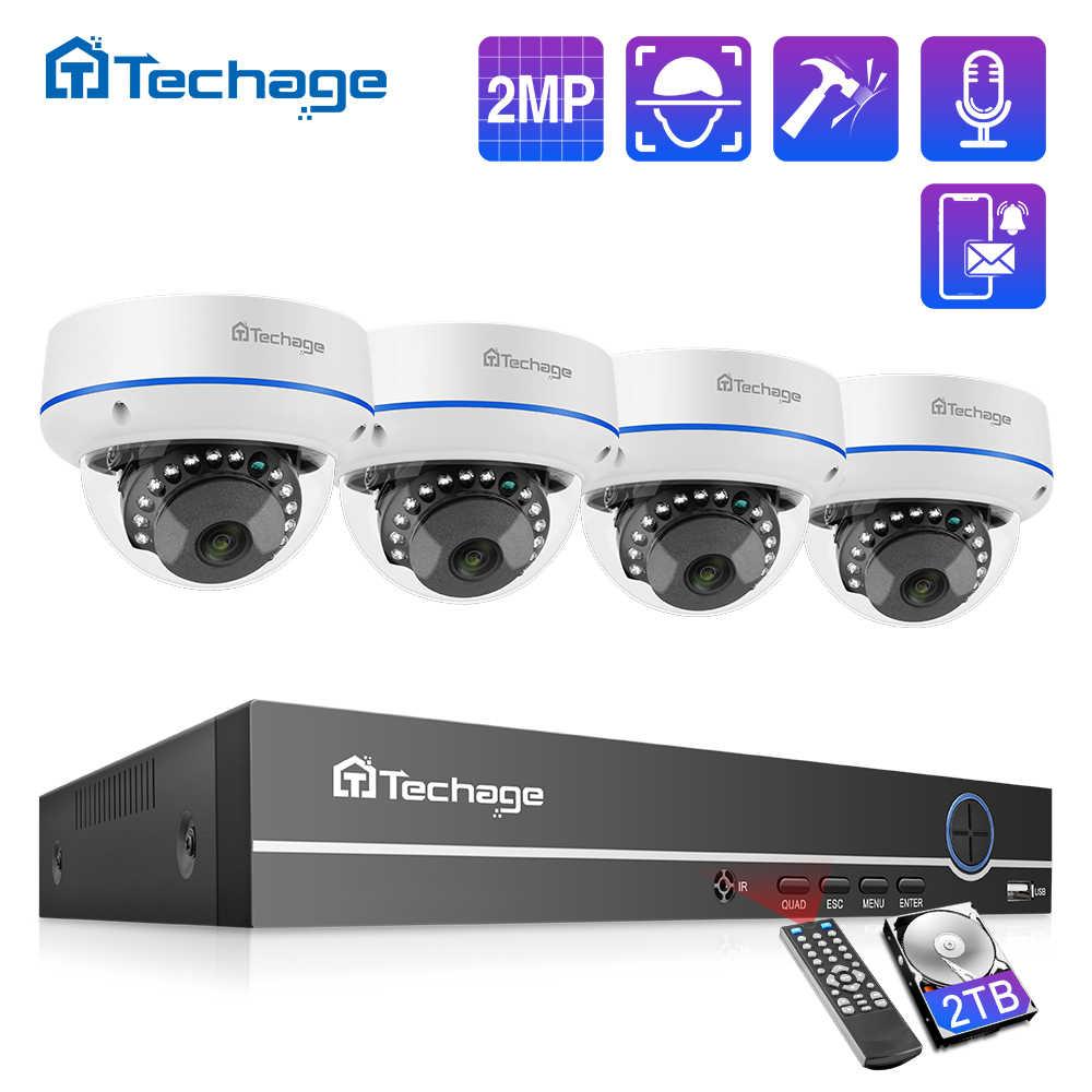 Techage H.265 กล้องวงจรปิดความปลอดภัยระบบ 4CH 1080P POE NVRชุดโดมในร่มกลางแจ้งเสียงบันทึกIPกล้องP2Pวิดีโอการเฝ้าระวังชุด