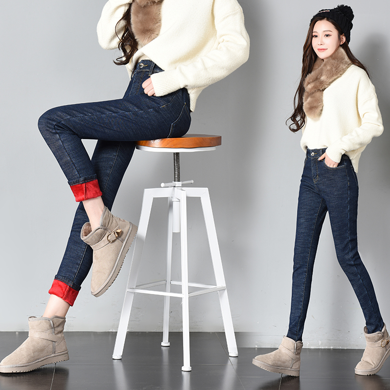 Women Winter Solid Fleece Jeans 2019 Fashion Warm Thickening Denim Pencil Pants Skinny Jean Pants New Sexy Streetpants P9228