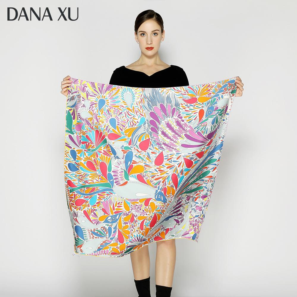 2020 Silk Scarf Fashion Foulard Satin Shawl Scarfs Big Size 90*90cm Square Silk Hair / Head Scarves Women Bandana