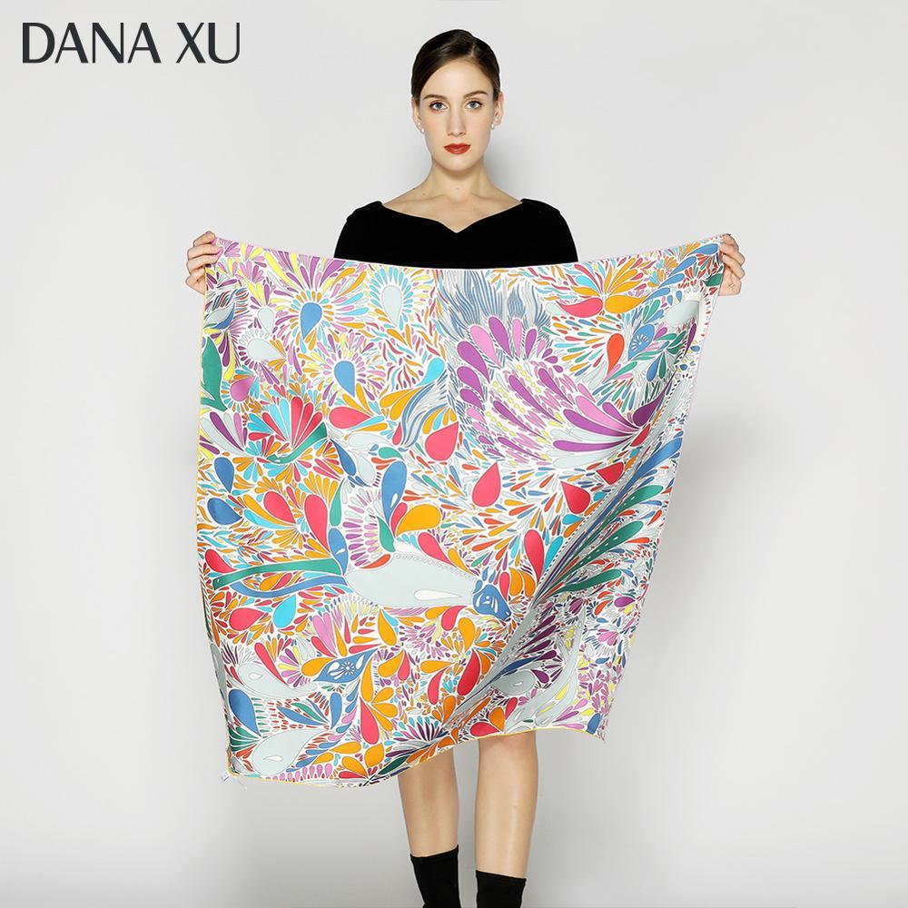 2020 Silk Scarf Fashion Foulard Satin Shawl Scarfs Big Size 90*90cm Square Silk Hair / Head Scarves Women Bandana