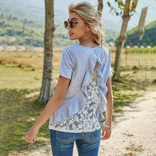 Spring Ruffles Lace T Shirt Women Casual O Neck Short Sleeve Pullover Top Female Summer T Shirt For Women 2021 New