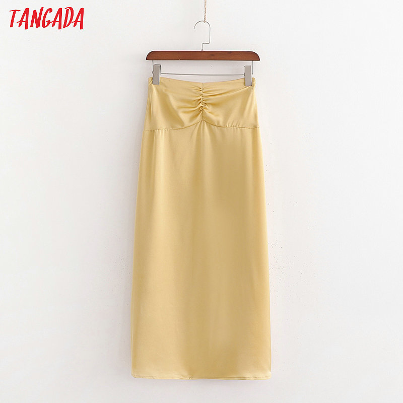 Tangada Women Pleated Yellow Midi Skirt Faldas Mujer Vintage Side Zipper High Waist Elegant Chic Mid Calf Skirts 1D174