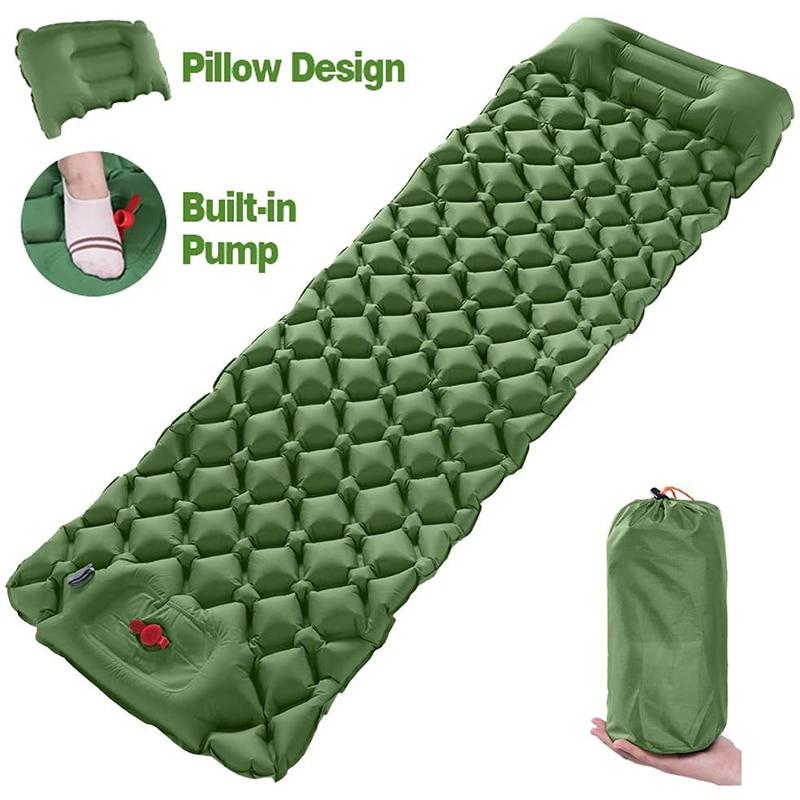 Camping Air Sleeping Pad Mat - Foot Press Inflatable Lightweight Backpacking Pad, Waterproof Air Mattress Compact Hiking Pad
