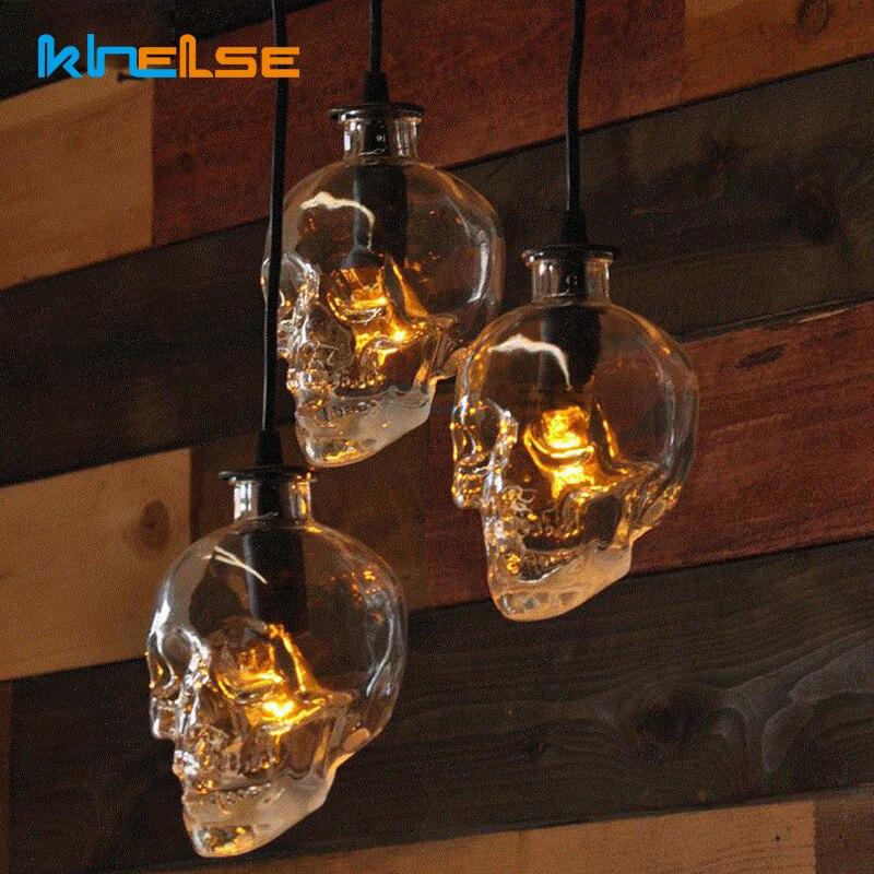 Vintage tête de crâne clair verre pendentif lumière E14 LED Edison pendentif lampe chambre salon maison intérieur vacances Halloween décor