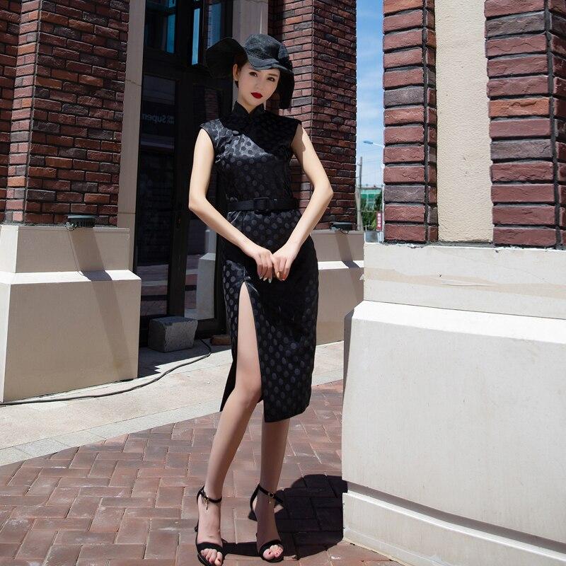Robe Qipao femme chinoise élégante Vintage point noir Cheongsam femmes robe fendue en Satin - 2