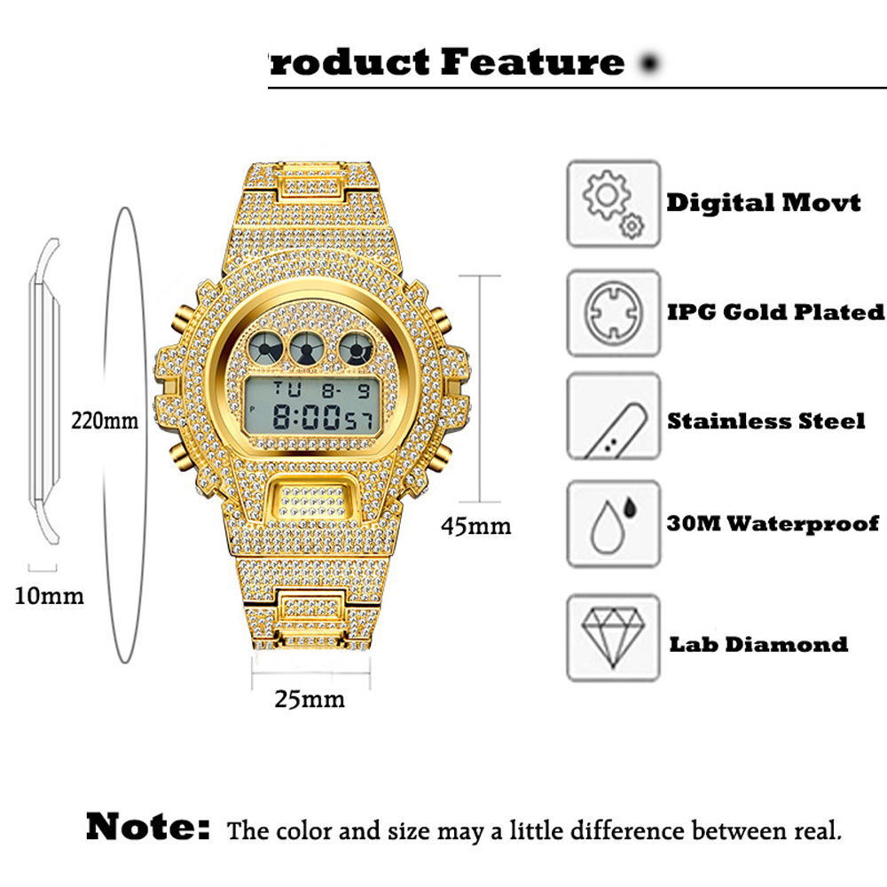 dropshipping new 2020 MISSFOX Multi-function G Style Digital Mens Watches Top Brand LED 18K Gold Watch Men Hip Hop Male Iced Out Watches Man (8)