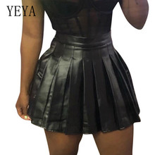 YEYA PU Leather Pleated Skirt Fashion for Woman Black High Waisted Summer Sexy Mini Female Casual Saia Feminina
