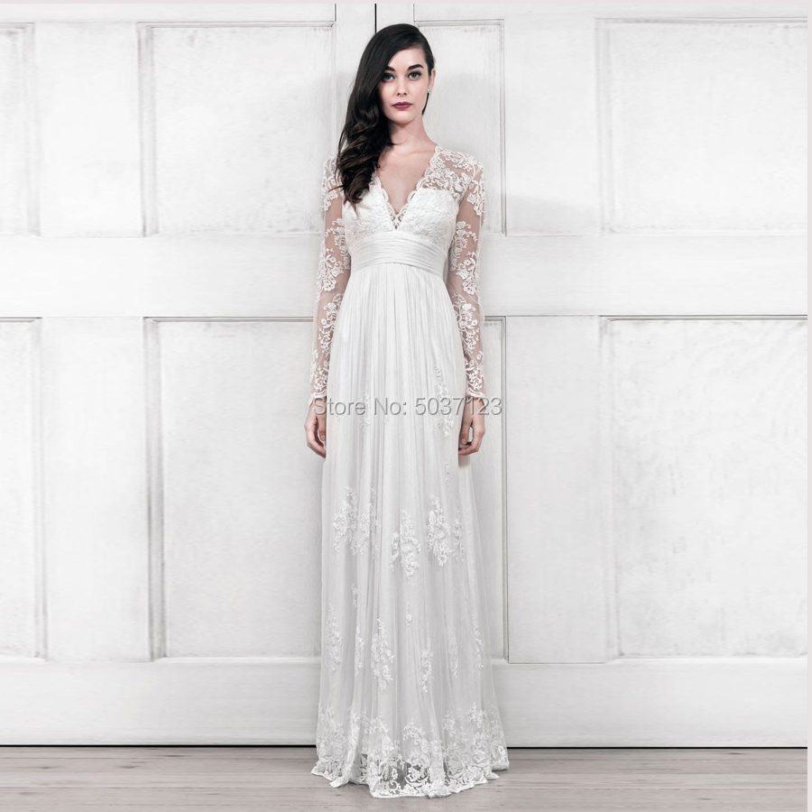A-line Long Sleeves V-neckline Floor Lenght Wedding Dresses Lace Simple Sytyle Outdoor Sexy Bridal Dress Gonws For Married Bride