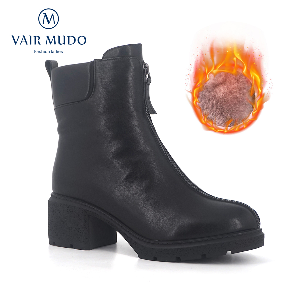 VAIR MUDO 2019 New Brand Winter Ankle Boots Women Warm Wool Plush High Quality Fur Genuine Leather Women Snow Boots Shoes DX21