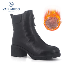 Купить с кэшбэком VAIR MUDO 2019 Winter Ankle Boots Women Warm Wool Plush High Quality Fur Genuine Leather women's Winter Snow Boots Shoes DX21
