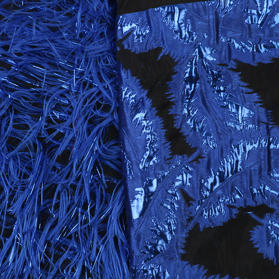 Image 5 - Royal Blue Jacquard Lace Fabric Nigerian Tissu Lace for Sewing Clothes Good Quality African Brocade Lace with Feather APW2921B-in Lace from Home & Garden