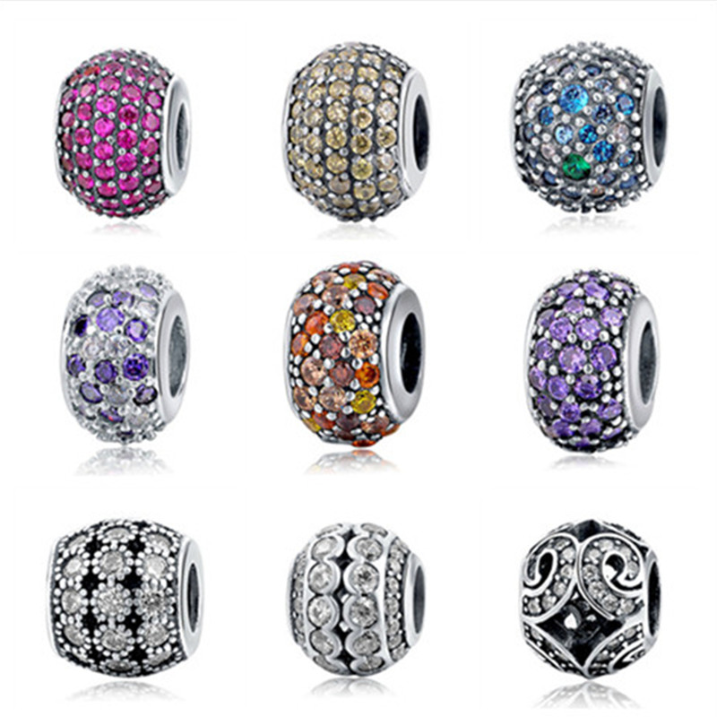 Fit pandora Bracelets Silver 925 Original Pendant collect Charms Antique Bead diy Jewelry Clear Crystal Stone Charm Beads