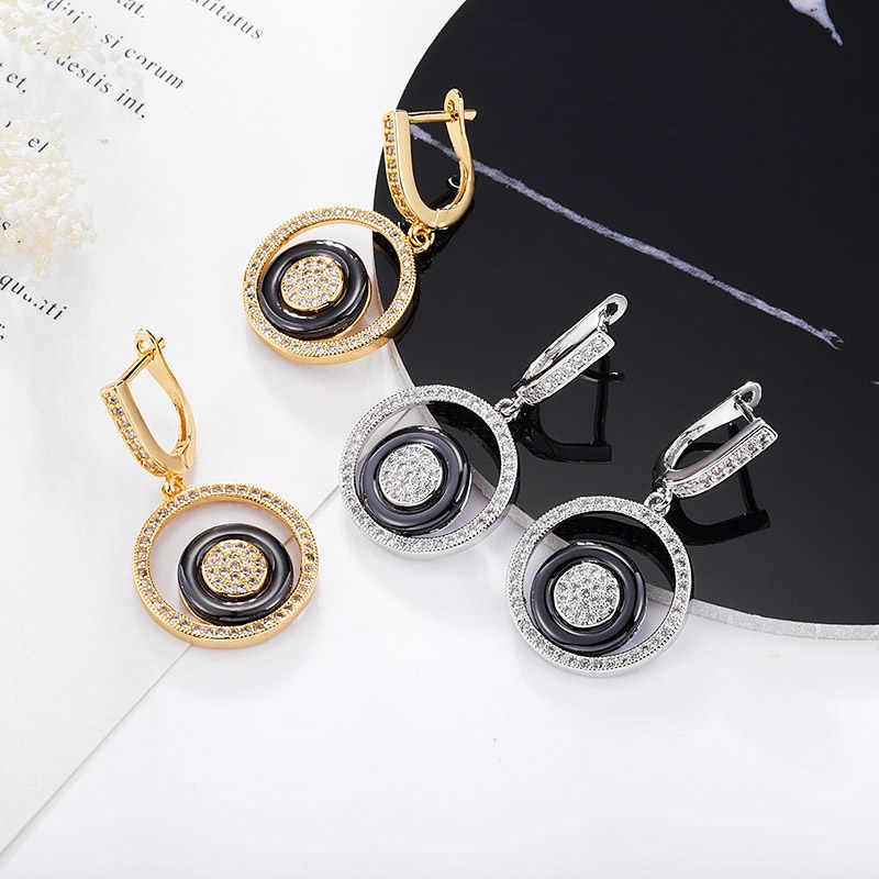 MAIKALE Trendy Keramik Ohrringe Runde Kupfer Überzogene Gold Silber Hohe Qualität Anhänger Ohrringe Für Frauen Senden Freund Geschenke