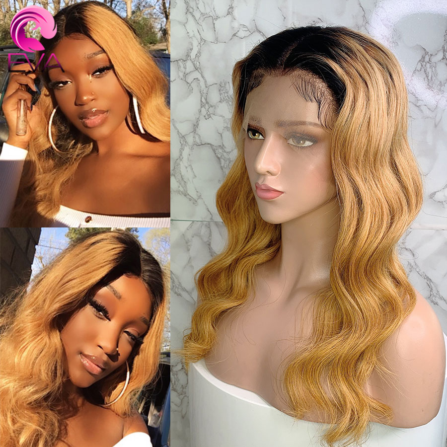 Eva Hair T1B/27 Body Wave Brazilian Remy 13x6 Lace Front Human Hair Wigs Pre Plucked With Baby Hair Bleached Knots For Women