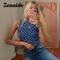 Женский укороченный топ в клетку Zenaide, Трикотажный жилет без рукавов в стиле пэчворк, модель Y2K на лето, 2021
