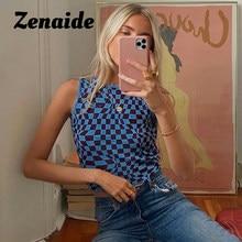 Zenaide verificado colheita superior sem mangas colete tricô verão 2021 retalhos y2k moda outfits streetwear malha tanque superior feminino