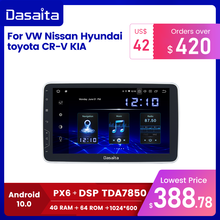 "Dasaita 1 Din 안드로이드 10.0 TDA7850 10.2 ""IPS 범용 자동차 라디오, 닛산 도요타 자동 스테레오 GPS 네비게이션 카플레이 4G 64G BT 5.0"