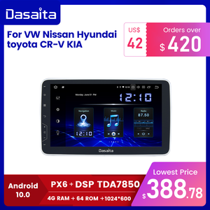"Image 1 - Dasaita 1 Din Android 10.0 TDA7850 10.2"" IPS Universal Car Radio Nissan Toyota Auto Stereo GPS Navigation Carplay 4G 64G BT 5.0"