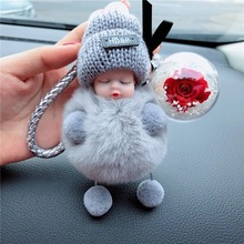 Cute Sleeping Baby Doll Women Bag Decoration Eternal Flower Fur Ball Bag Chain Pompom De Fluffy Bag Charms Plush Keychain