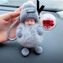 Cute Sleeping Baby Doll Women Bag Decoration Eternal Flower Fur Ball Bag Chain Pompom De Fluffy Bag Charms Plush Keychain