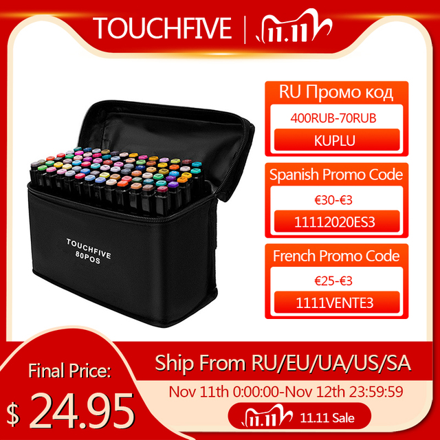 TouchFive אמנות מרקר סט 12/24/36/48/80/168 צבעים אלכוהול בסיס סמני מנגה סקיצה ציור בטוש כפול בראשות טיפ עט