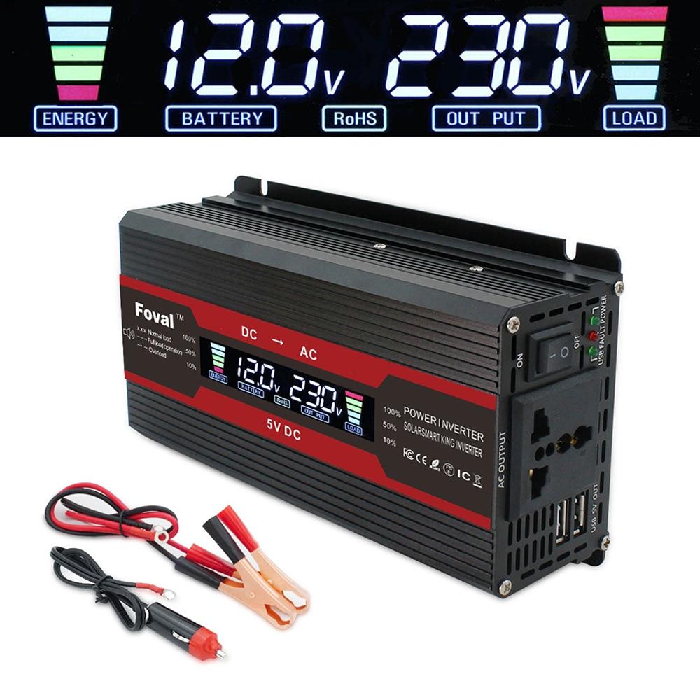 Автомобильный инвертор с ЖК-дисплеем, от 12 В постоянного тока до 220 В переменного тока, 230 В, 240 в, 1500 Вт/2000 Вт/2600 Вт, зарядное устройство, преобр...