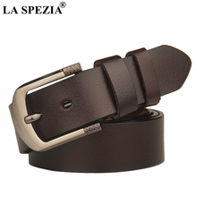 LA SPEZIA 170cm Extra Long Belt Men Brown Black Plus Size Genuine Leather Male Buckle Cowhide High Quality