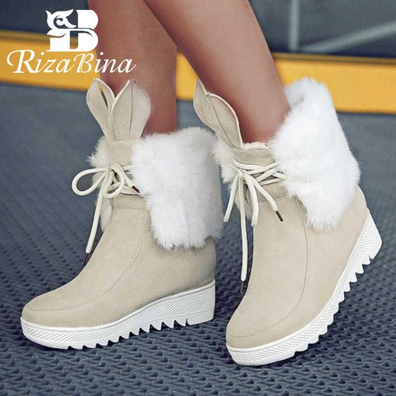 RizaBina Women Cute Lace Up Boot Snow
