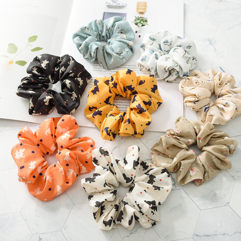 2019 Hot New 1 Pcs Printed Hair Ring Elastic Rubber Band Cartoon Flower Printing Head Rope Headwear Women Hair Accessories