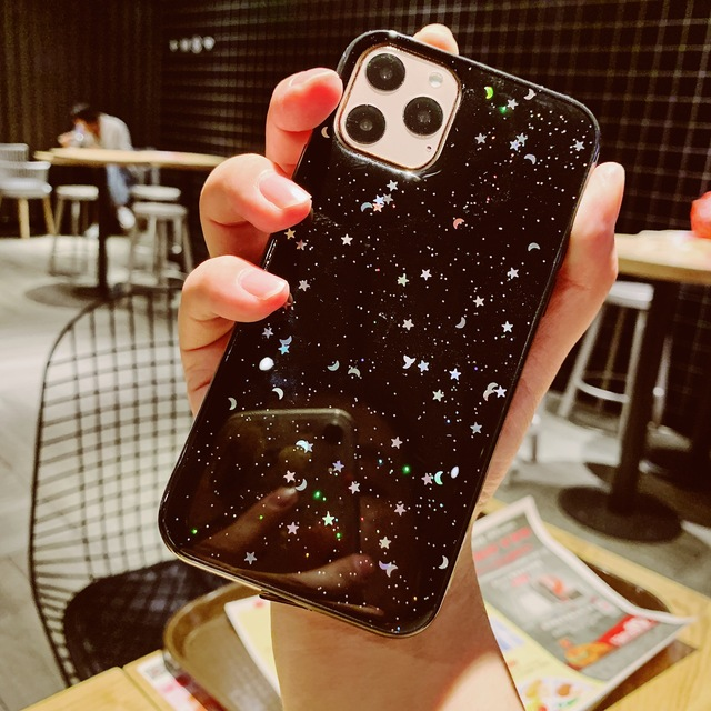Voor Apple iPhone 6 6s 7 8 Plus 11 Pro 10 X XS XR Max Bling Glitter Ster Maan sparkle Pailletten Soft Clear Silicone TPU Case Cover 4