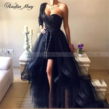 Black Sequin One Shoulder Long Sleeves Arabic Evening Dress with Overskirt Detachable Skirt Ruffles High Low Prom Dresses Formal