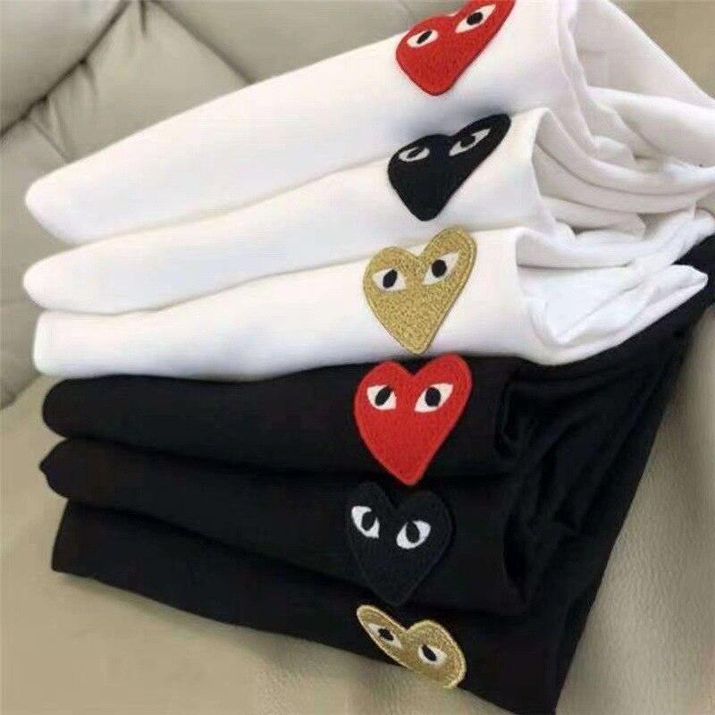 Тапочки для влюбленных в японском Футболка сердце вышивка на каждый день, футболка с рисунками основы Топы подарок для женщин, одежда для де...