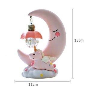 Image 4 - שרף ירח Unicorn LED לילה אור קריקטורה תינוק משתלת מנורת נשימה ילדי צעצוע מתנה לחג המולד ילדים חדר מלאכת שולחן אור