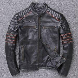 Image 4 - Free shipping.DHL sales New Brand plus size black men skull leather Jackets mens genuine Leather biker jacket.motorbiker coat