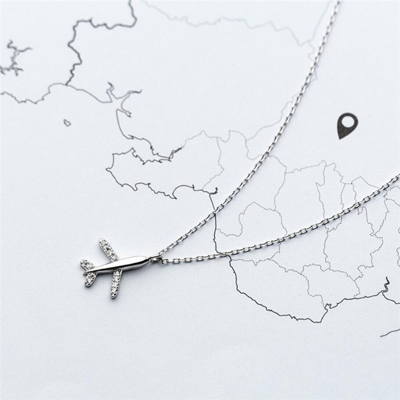 Sole Memory Sweet Cute Mini Plane Literary 925 Sterling Silver Clavicle Chain Female Necklace SNE562