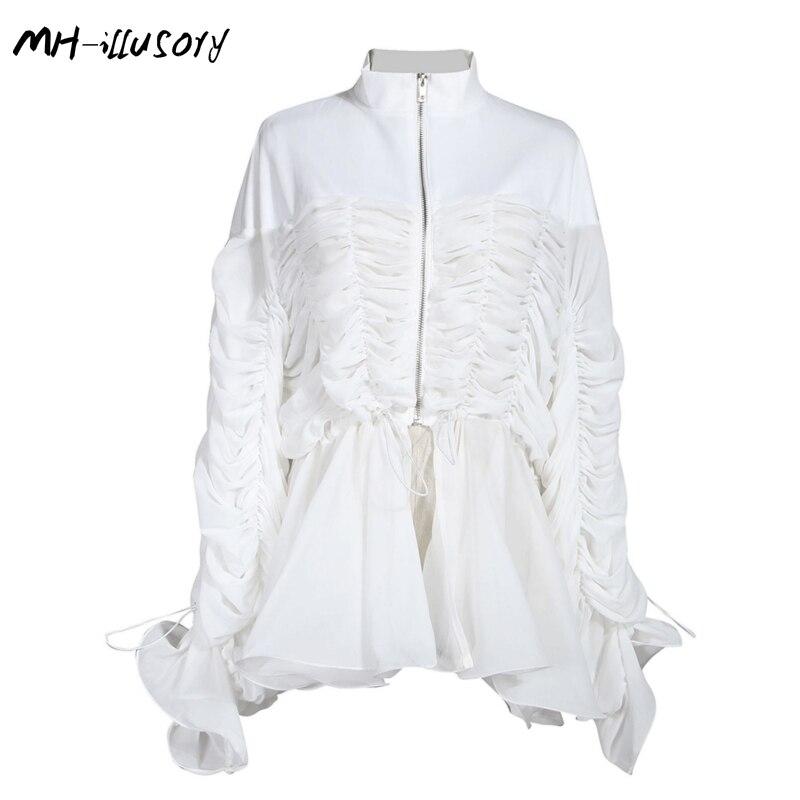 2019 nouveauté femmes mode Sexy Blouse à manches longues blanc haut pour femme de haute qualité plissé cordon dame Blouse petit haut
